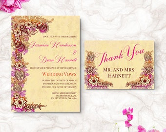 Bohemian Wedding Invitation Bollywood Wedding Invite