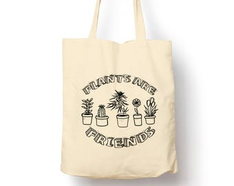 Plants Are Friends - Cute - doodle - Reusable Tote Shopping Canvas Bag
