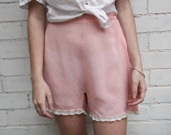 Antique 1920s blush silk and lace trimmed tap pants with pressed shell button Art Deco