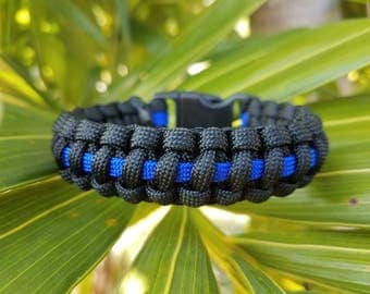 Thin Blue Line Paracord Bracelet, Police Officer Paracord Bracelet, Thin Blue Line Bracelet, Thin Blue Line Paracord, Law Enforcement
