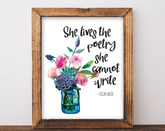 Items similar to live quote life quote adventure quote for Art and decoration oscar wilde