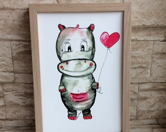 Nursery picture hippo