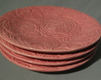 Set of 4 Bordallo Pinheiro Pink Rose Plates