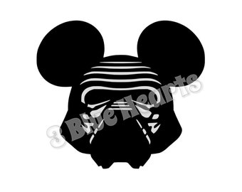Kylo Ren Mickey Head, Kylo Ren SVG dxf pdf Studio, Star Wars Mickey Head, Star Wars SVG dxf pdf Studio, Disney SVG dxf pdf Studio