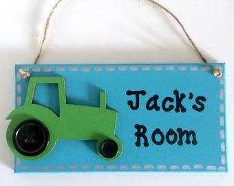 Tractor Personalised Door Sign ~ Kids Door Sign ~ Children's Bedroom Plaque ~ Kids Personalised Plaque ~ Kids Name Plaque ~ Kids Room Sign