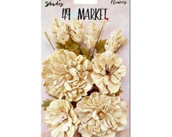 49 & Market Vintage Shades Ecru Bouquet - 49 And Market Vintage Shades Ecru Bouquet - Ecru Scrapbook Flowers - Ecru Embellishment Flowers