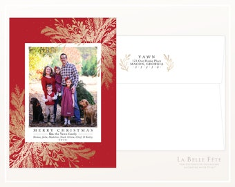 MERRY CHRISTMAS Holiday photo greeting card in red with gold branches / with diy printable option