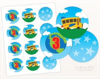 MAGIC SCHOOL BUS Birthday Party Stickers / Labels