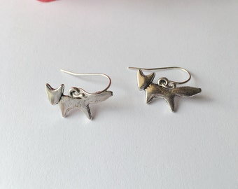 Antique Silver Little Fox Earrings.