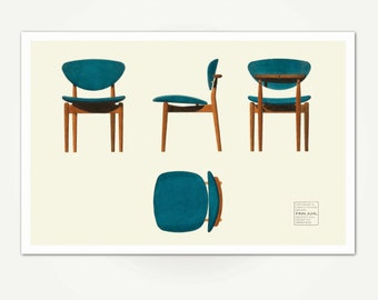 Finn Juhl Illustration For Model 55 Chair   Vintage Danish Modern Furniture  Design Print   Mid
