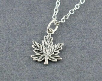 Maple Leaf Charm, Sterling Silver Necklace
