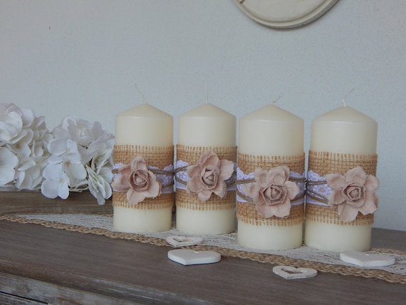 Candele shabby chic fiore rosaset di nr 4 candele for Candele decorate