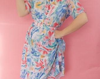 Pastel flower tea dress
