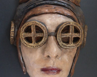 Original ceramic mask - Amelia - inspired by the steampunk style and created by portrait artist Anita Dewitt