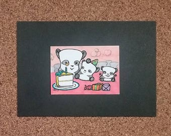 Panda Party, Marshmallow Family, Ready-to-Frame ACEO