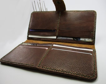 Bifold leather female wallet brown wallet card holder