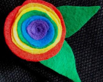 Rainbow Flower Boutonniere