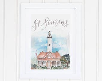 Watercolor St. Simons Island Georgia Print | St. Simons Lighthouse Watercolor Art | Georgia Lighthouse Painting | Coastal Watercolor