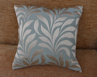 """Cushion/Pillow Cover, 16"""" x 16"""" Square in Duck Egg Green and Gold Leaf Design Fabric"""