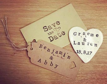 Rustic Save The Date Magnets Personalised Wedding Handmade