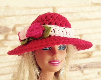 Crochet red Barbie hat with roses, Barbie summer hat, dolls hat, Barbie Doll fashion spring accessory
