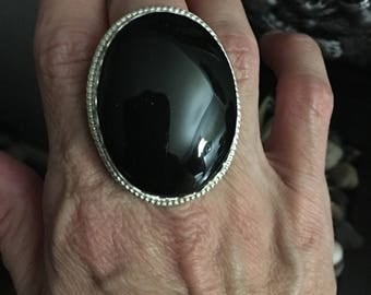 Black Onyx sterling silver ring, Size 6.25