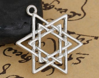 Silver Plate Star of David Charms, Pack of 5 (1661)