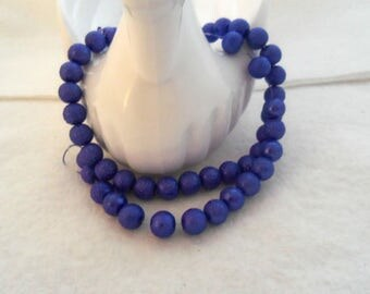 8 mm Textured Glass Beads - Royal Blue (1423)
