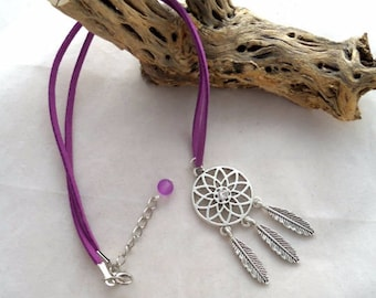 16 Inch Lilac Faux Suede Necklace With Dreamcather Pendant (1034)
