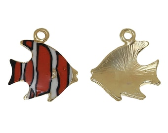 5 Gold Tone/Enamel Fish Charms 17 x 15mm (B203g)