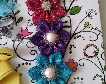 Pink, Purple, or Blue Flower Hair Bow Clip