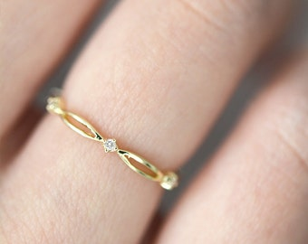 JESSICA Ring, 14k Gold Diamond Wedding Band, 14k Gold Diamond Stackable Ring, Dainty Woven Diamond Ring,Loosely Braided Diamond Wedding Band