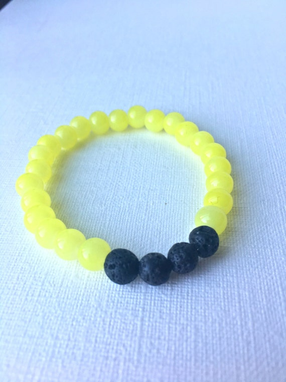 Child Essential Oil Diffuser Bracelet - gift for boy - gift for son - black lava bead and yellow beaded stretch bracelet