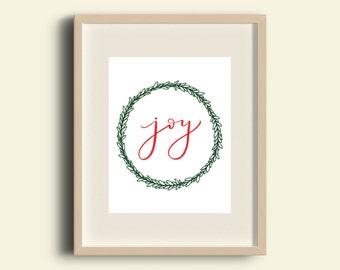 Joy Printable- Joy Sign- Christmas Printable- Holiday Printable- Merry Christmas- Christmas Decor- Holiday Decor- Hand Lettered Print