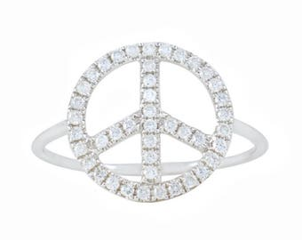 Peace Is The Answer Dainty Diamond Ring
