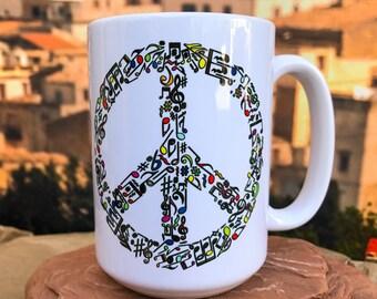Music and Peace. Peace Symbol  11oz or 15oz Coffee Mug.