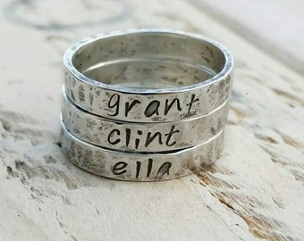 Mother's Day, Name stacking rings, name rings, handstamped rings, personalized rings, message ring, personalized stacking rings, memory ring