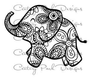 Baby elephant svg - 003 mandala SVG/JPEG / PNG /pdf /use with Silhouette Studio and Cricut Design Space  Commercial Use  Adult Coloring Page