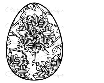 Egg Easter with Flower 001 SVG / JPEG / PNG /pdf / use with Silhouette Studio and Cricut - Commercial Use - Adult Coloring Page