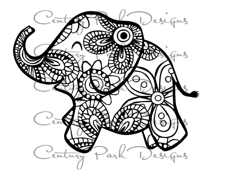 baby elephant svg 003 mandala svg jpeg png pdf use with