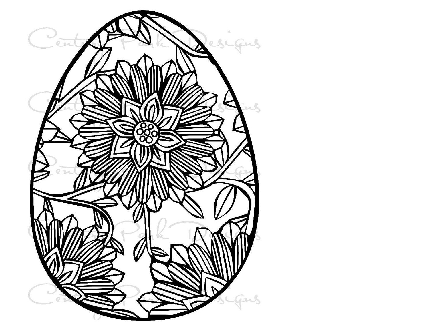 Egg Easter With Flower 001 SVG JPEG PNG Pdf Use Silhouette Studio And Cricut