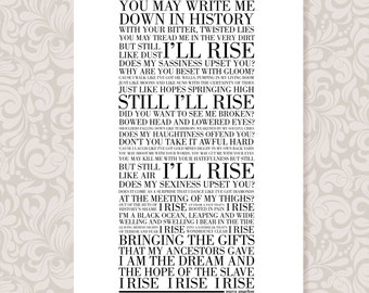 Still I Rise by Maya Angelou (print in 5 colourways and 2 sizes: A4 and A3)