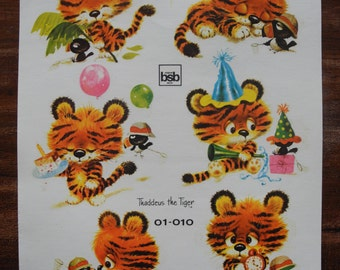 Vintage Tiger decal water transfer decoration stickers