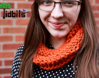 Miranda Chunky Knit Cowl - Orange Infinity Scarf