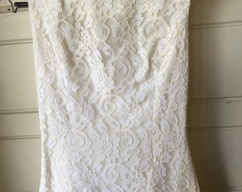 Vintage 1960's Lorrie Deb boatneck lace wedding dress