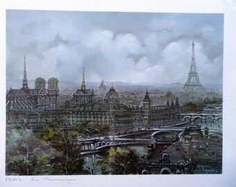 Lithograph signed - view panorama of Paris - Paris Maurice Legendre - vintage - Monuments of Paris - Eiffel Tower - Made in France