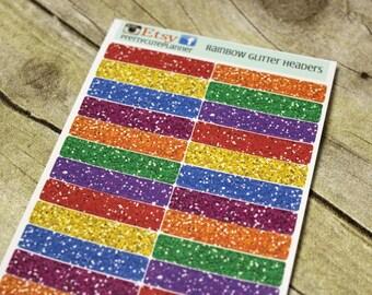Planner Stickers - Rainbow Glitter Header Sticker - Erin Condren Life Planner - Happy Planner - Rainbow Stickers - Glitter Stickers -Headers