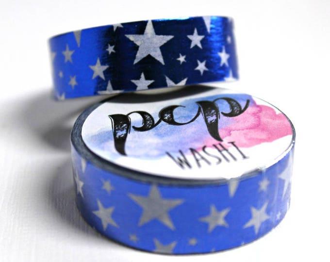 Washi Tape - Foil Washi Tape - Blue Foil Washi - Stars washi - Paper Tape - Planner Washi Tape - Washi - Decorative Tape - Deco Paper Tape