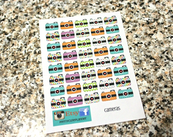 Planner Stickers - Tiny Camera Stickers- Reminder Stickers - Instagram stickers - Fits Erin Condren - Happy Planner - Camera stickers