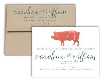 bbq rehearsal dinner invitation |  brush calligraphy invitation  |  barbecue invitation |  modern brush calligraphy | wedding invitation